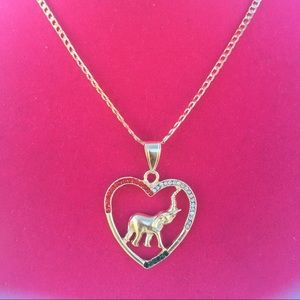 Multi color stone elephant pendant necklace